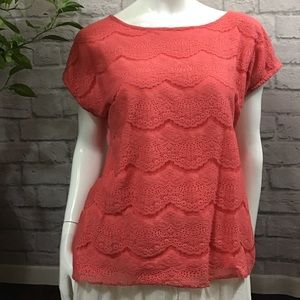 🍭 SALE! 3/$10 Melon pink lace layered XL top